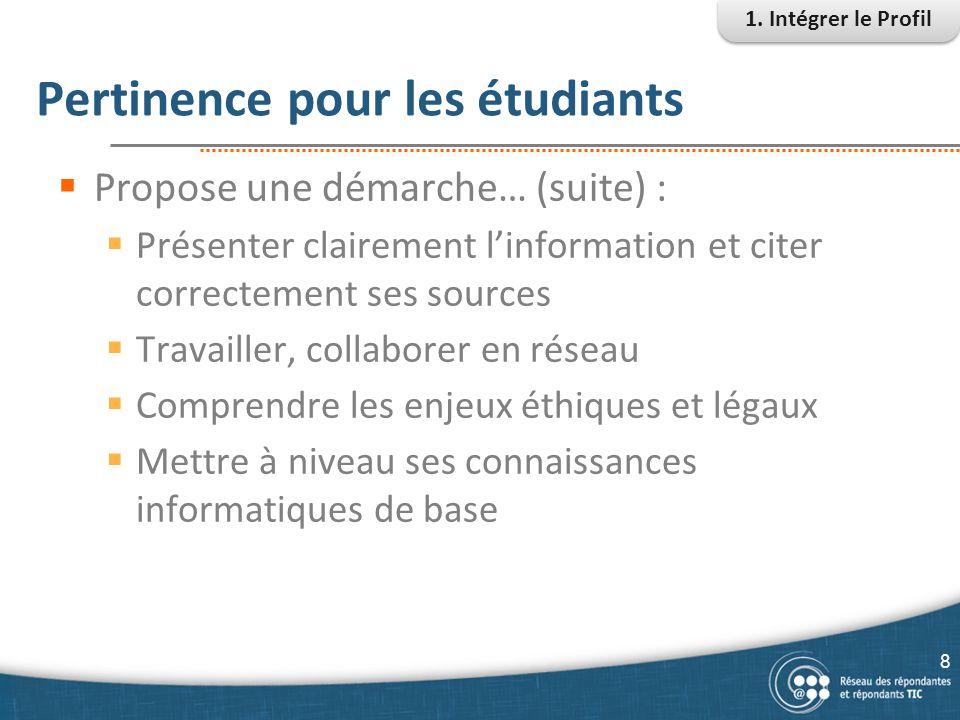 Pertinence pour les étudiants  Propose une démarche… (suite) :  Présenter clairement l'information et citer correctement ses sources  Travailler, c