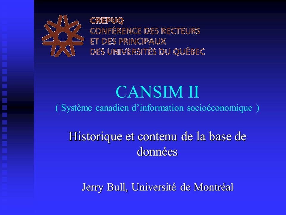 15 novembre 2001 CREPUQ Groupe de travail sur les fichiers de données numériques 2 Un peu d'histoire Pré-CANSIM Pré-CANSIM  Avant 1886 - tableaux statistiques éparpillés dans différentes publications – rapports annuels, documents de la session, etc.