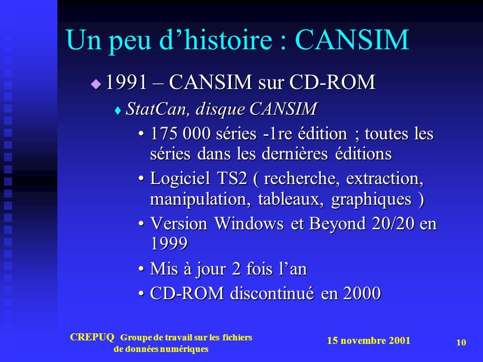 15 novembre 2001 CREPUQ Groupe de travail sur les fichiers de données numériques 10 Un peu d'histoire : CANSIM  1991 – CANSIM sur CD-ROM  StatCan, d