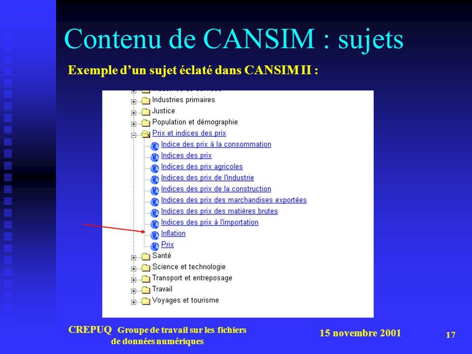 15 novembre 2001 CREPUQ Groupe de travail sur les fichiers de données numériques 17 Contenu de CANSIM : sujets Exemple d'un sujet éclaté dans CANSIM I
