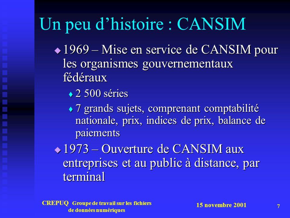 15 novembre 2001 CREPUQ Groupe de travail sur les fichiers de données numériques 8 Un peu d'histoire : CANSIM  1976 – Création de la Mini Base CANSIM – 17 500 sur 300 000 séries de la base principale  Produit normalisé obligatoire pour tous les distributeurs secondaires ( tels SDL - Datastream ), IST, IP Sharp, etc.