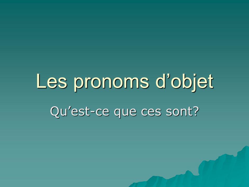 Qu'est-ce que c'est un pronom.C'est un mot qui remplace un nom.