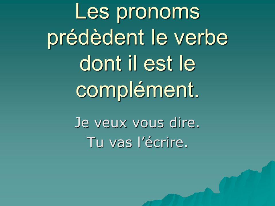 Les pronoms prédèdent le verbe dont il est le complément. Je veux vous dire. Tu vas l'écrire.