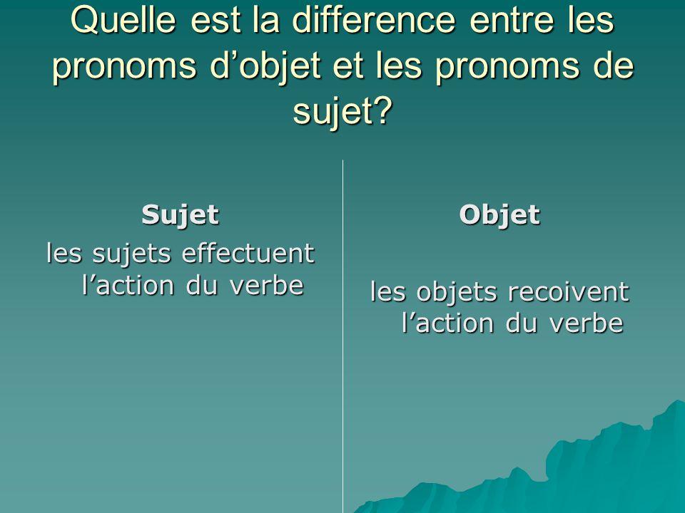 Quelle est la difference entre les pronoms d'objet et les pronoms de sujet? Sujet les sujets effectuent l'action du verbe Objet les objets recoivent l