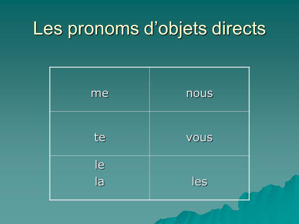 les pronoms objets directs  précèdent le verbe;  doivent faire l'accordance avec le nom ce qu'il remplace.