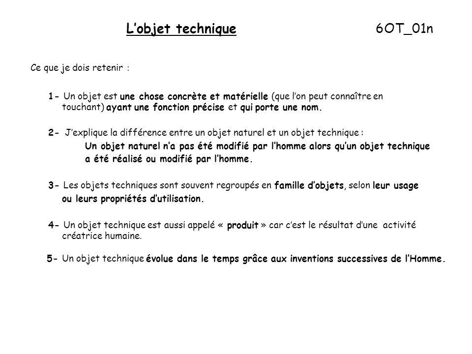 L'objet technique 6OT_01n Ce que je dois retenir : 1- Un objet est une chose concrète et matérielle (que l'on peut connaître en touchant) ayant une fonction précise et qui porte une nom.