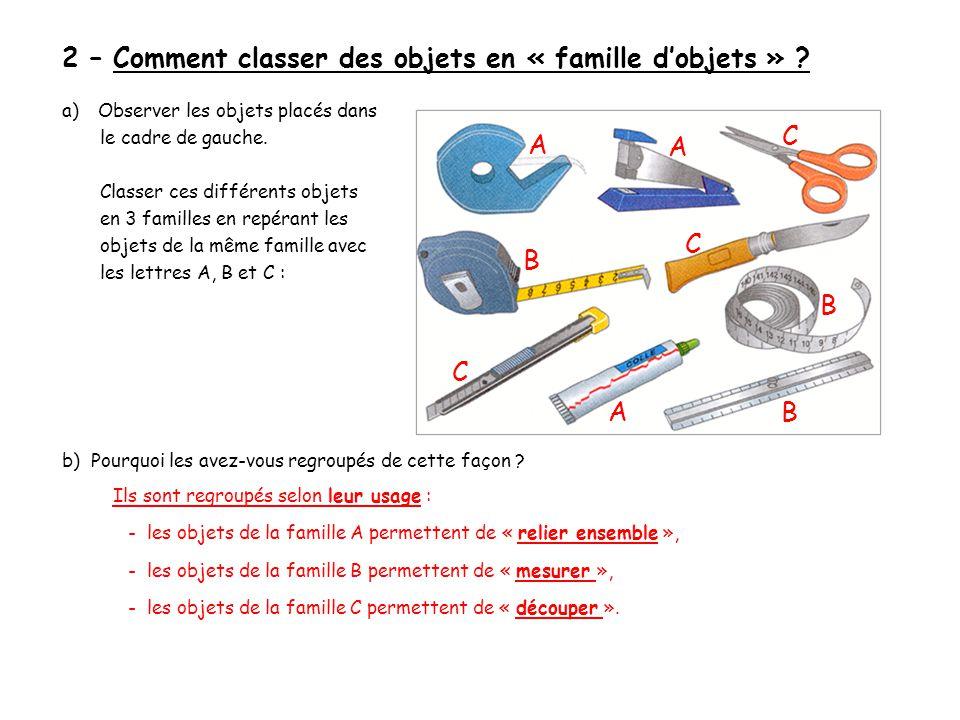 2 – Comment classer des objets en « famille d'objets » .