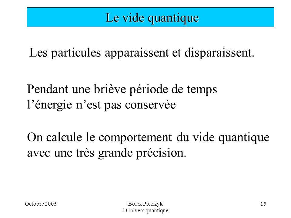 Octobre 2005Bolek Pietrzyk l'Univers quantique 15  Le vide quantique Les particules apparaissent et disparaissent. Pendant une briève période de temp
