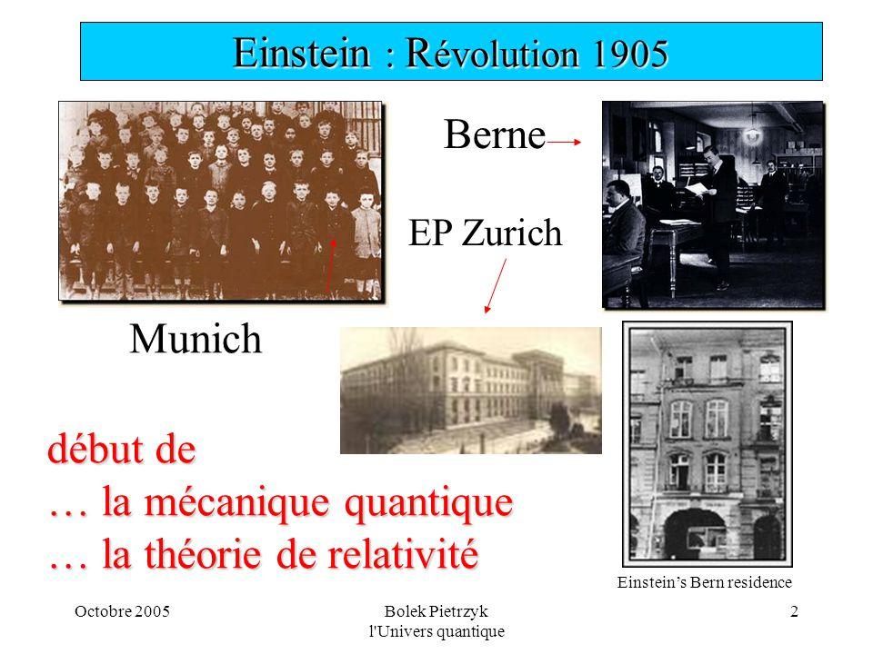 Octobre 2005Bolek Pietrzyk l'Univers quantique 2 Einstein  R évolution 1905 Einstein's Bern residence Munich début de … la mécanique quantique … la
