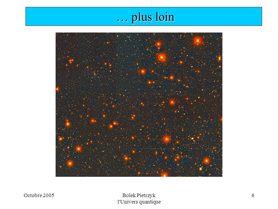 Octobre 2005Bolek Pietrzyk l Univers quantique 27  Etrange mathématique… p1p1 p2p2 p 2,1 p 1,2 1+1 = 4 ou 0 P = [A+A] 2 = 4A 2 particules bose ou = [A- A] 2 = 0 particules fermi