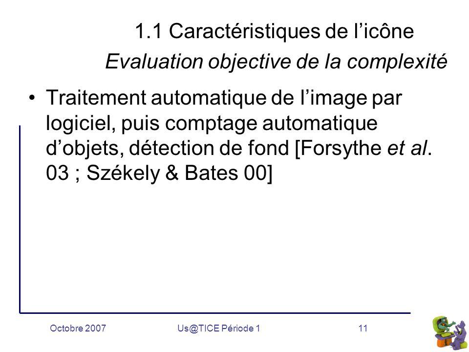 Octobre 2007Us@TICE Période 111 1.1 Caractéristiques de l'icône Evaluation objective de la complexité Traitement automatique de l'image par logiciel, puis comptage automatique d'objets, détection de fond [Forsythe et al.