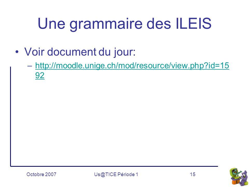 Octobre 2007Us@TICE Période 115 Une grammaire des ILEIS Voir document du jour: –http://moodle.unige.ch/mod/resource/view.php?id=15 92http://moodle.unige.ch/mod/resource/view.php?id=15 92