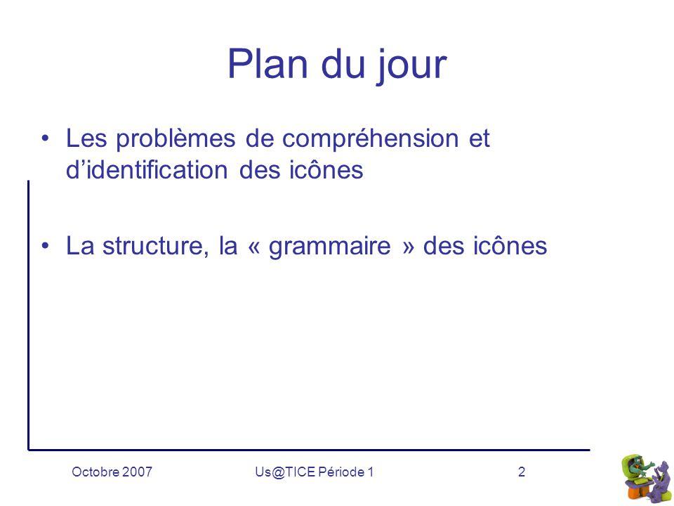 Octobre 2007Us@TICE Période 12 Plan du jour Les problèmes de compréhension et d'identification des icônes La structure, la « grammaire » des icônes