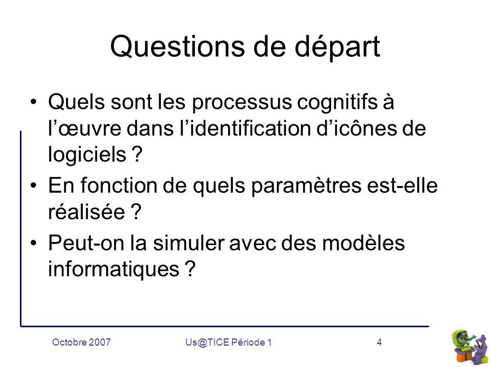 Octobre 2007Us@TICE Période 14 Questions de départ Quels sont les processus cognitifs à l'œuvre dans l'identification d'icônes de logiciels .