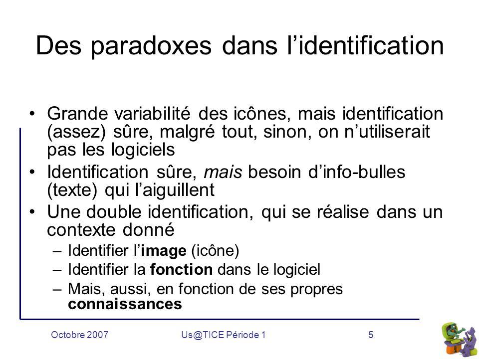 Octobre 2007Us@TICE Période 15 Des paradoxes dans l'identification Grande variabilité des icônes, mais identification (assez) sûre, malgré tout, sinon, on n'utiliserait pas les logiciels Identification sûre, mais besoin d'info-bulles (texte) qui l'aiguillent Une double identification, qui se réalise dans un contexte donné –Identifier l'image (icône) –Identifier la fonction dans le logiciel –Mais, aussi, en fonction de ses propres connaissances