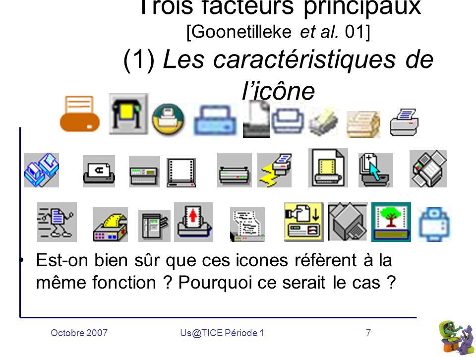 Octobre 2007Us@TICE Période 17 Trois facteurs principaux [Goonetilleke et al.