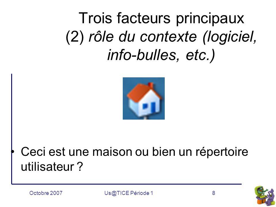 Octobre 2007Us@TICE Période 18 Trois facteurs principaux (2) rôle du contexte (logiciel, info-bulles, etc.) Ceci est une maison ou bien un répertoire utilisateur ?
