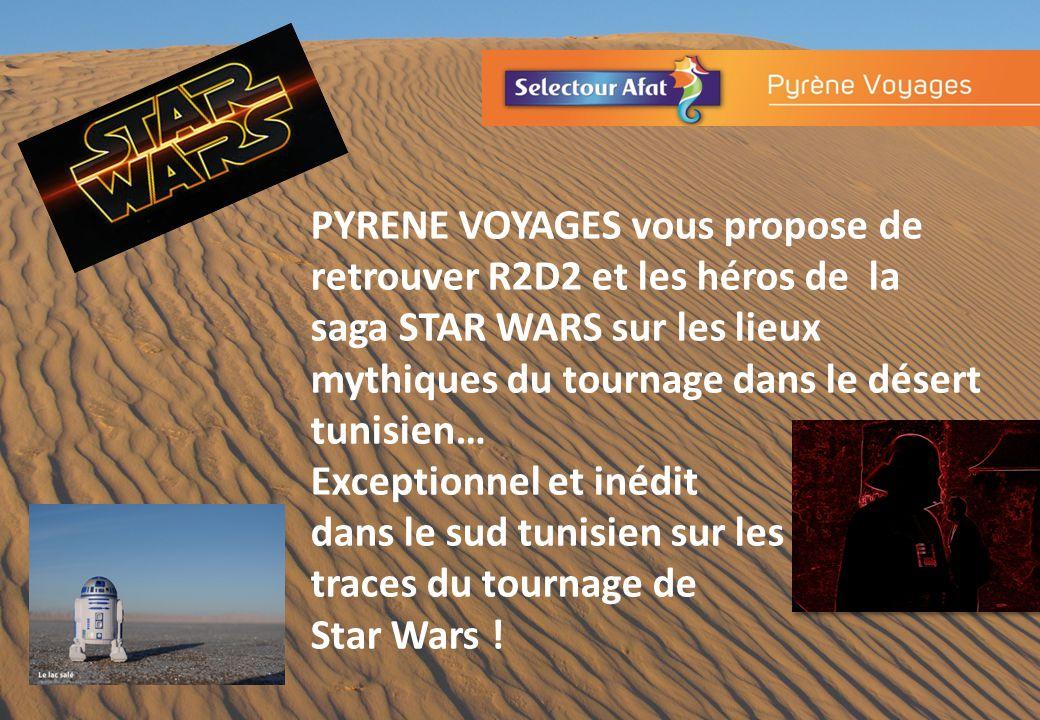 PYRENE VOYAGES vous propose de retrouver R2D2 et les héros de la saga STAR WARS sur les lieux mythiques du tournage dans le désert tunisien… Exceptionnel et inédit dans le sud tunisien sur les traces du tournage de Star Wars !