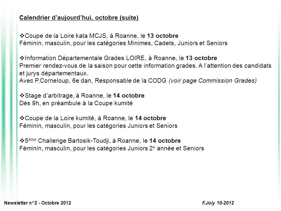 Calendrier d'aujourd'hui, octobre (suite)  Coupe de la Loire kata MCJS, à Roanne, le 13 octobre Féminin, masculin, pour les catégories Minimes, Cadets, Juniors et Seniors  Information Départementale Grades LOIRE, à Roanne, le 13 octobre Premier rendez-vous de la saison pour cette information grades.