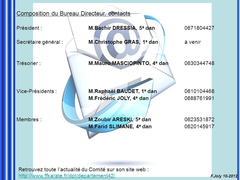Composition du Bureau Directeur, contacts Président : M.Bachir DRESSIA, 5 e dan0671804427 Secrétaire général :M.Christophe GRAS, 1 e danà venir Trésorier :M.Mauro MASCIOPINTO, 4 e dan0630344748 Vice-Présidents :M.Raphaël BAUDET, 1 e dan0610104468 M.Frédéric JOLY, 4 e dan0688761991 Membres : M.Zoubir ARESKI, 5 e dan0623531872 M.Farid SLIMANE, 4 e dan0620145917 Retrouvez toute l'actualité du Comité sur son site web : http://www.ffkarate.fr/dpt/departement42/ http://www.ffkarate.fr/dpt/departement42/ F.Joly 10-2012
