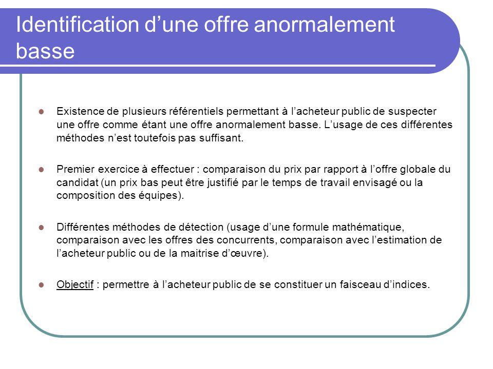 Identification d'une offre anormalement basse (suite) Méthode recommandée par l'AMF et la FFB : comparaison de l'offre avec celles des concurrents.