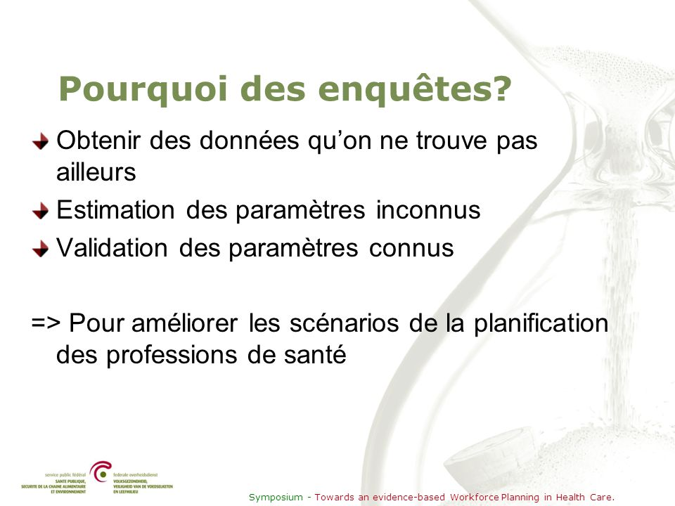Symposium - Towards an evidence-based Workforce Planning in Health Care. Pourquoi des enquêtes? Obtenir des données qu'on ne trouve pas ailleurs Estim