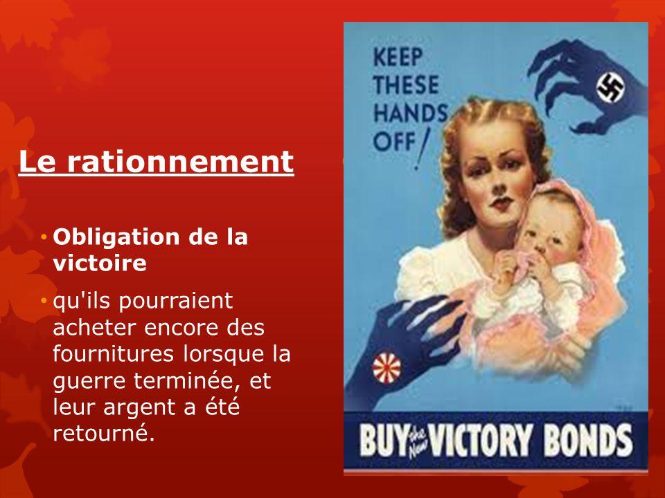 Le rationnement Obligation de la victoire qu'ils pourraient acheter encore des fournitures lorsque la guerre terminée, et leur argent a été retourné.