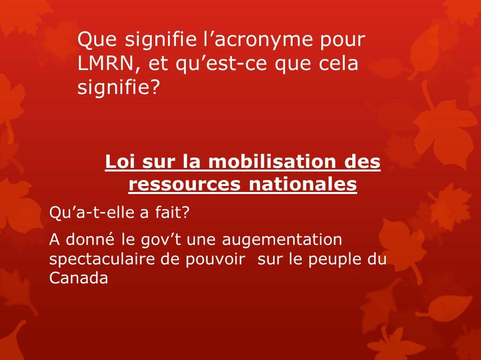 Que signifie l'acronyme pour LMRN, et qu'est-ce que cela signifie? Loi sur la mobilisation des ressources nationales Qu'a-t-elle a fait? A donné le go