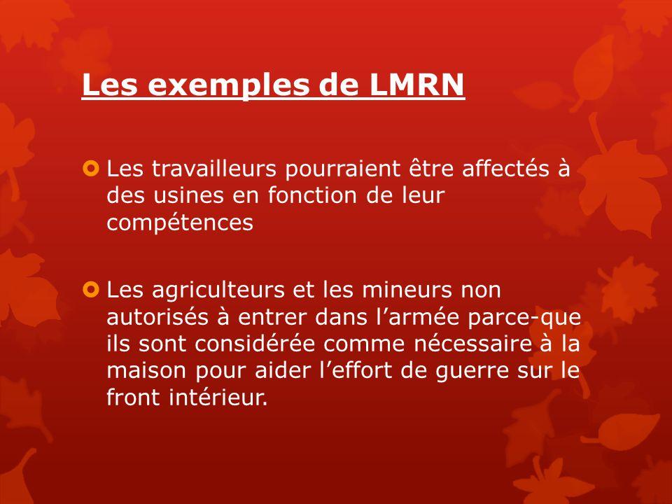 Les exemples de LMRN  Les travailleurs pourraient être affectés à des usines en fonction de leur compétences  Les agriculteurs et les mineurs non au
