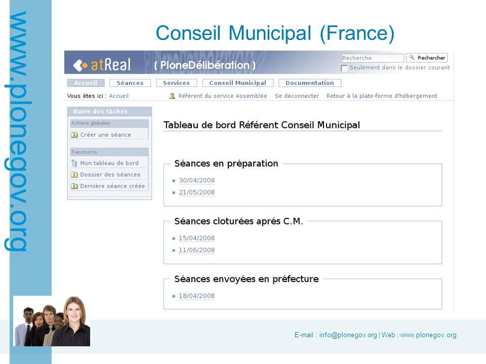 E-mail : info@plonegov.org | Web : www.plonegov.org www.plonegov.org Conseil Municipal (France)