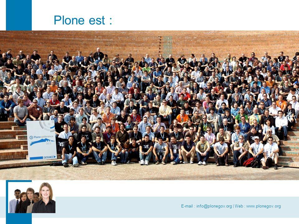 E-mail : info@plonegov.org | Web : www.plonegov.org www.plonegov.org CommunesPlone est : Une communauté composée : –des communes (27 au 1/1/07) –d'associations (uvcw) –organismes publics (écoles, universités) Qui travaille en collaboration avec : –des PME belges et internationales –d'autres services publics (Easi-Wal, PCF, PFB,...) Selon les règles de la communauté open source –Méthodes de travail, démarche qualité, réutilisation