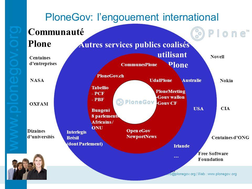 E-mail : info@plonegov.org | Web : www.plonegov.org www.plonegov.org PloneGov: la reconnaissance Grand prix du jury à Paris (Lutèces d'Or, juin 07) Finaliste aux European e-government awards à Lisbonne (septembre 07) Label européen (novembre 07)