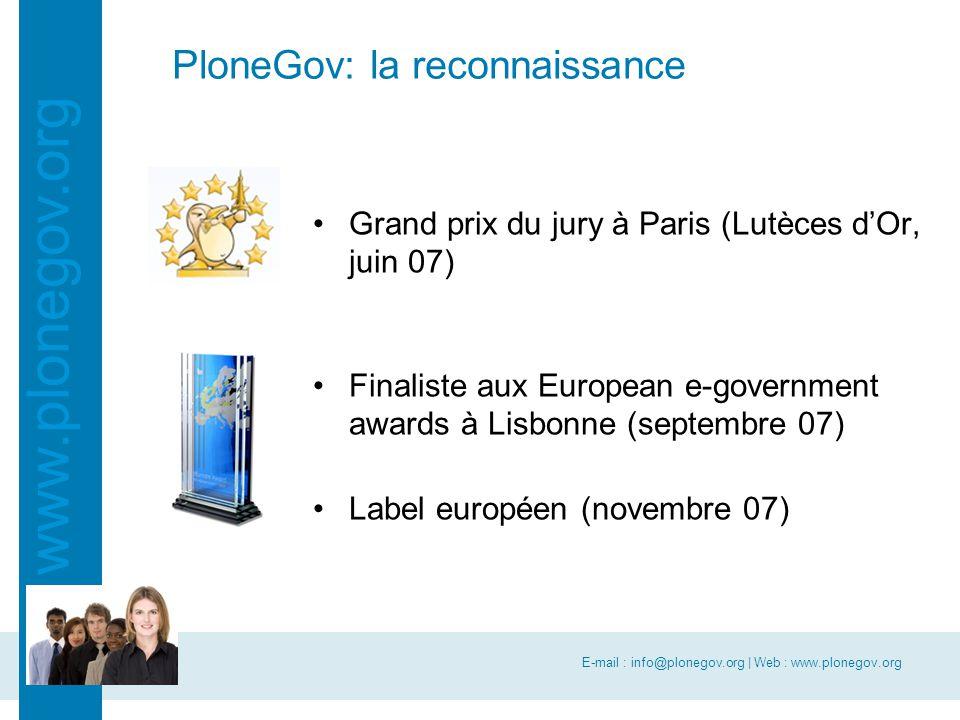 E-mail : info@plonegov.org | Web : www.plonegov.org www.plonegov.org PloneGov: la reconnaissance Grand prix du jury à Paris (Lutèces d'Or, juin 07) Fi