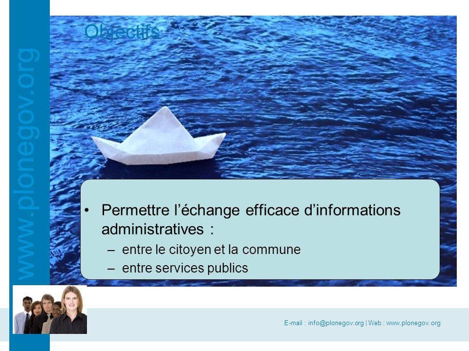 E-mail : info@plonegov.org | Web : www.plonegov.org www.plonegov.org Objectifs Permettre l'échange efficace d'informations administratives : –entre le citoyen et la commune –entre services publics