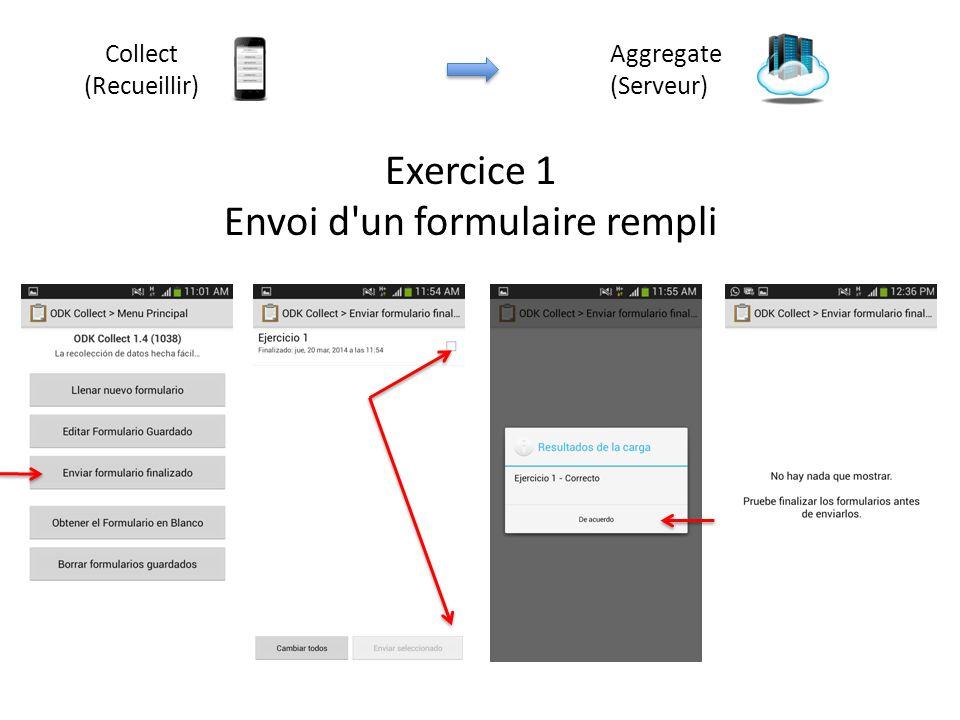 Exercice 1 Envoi d'un formulaire rempli Aggregate (Serveur) Collect (Recueillir)