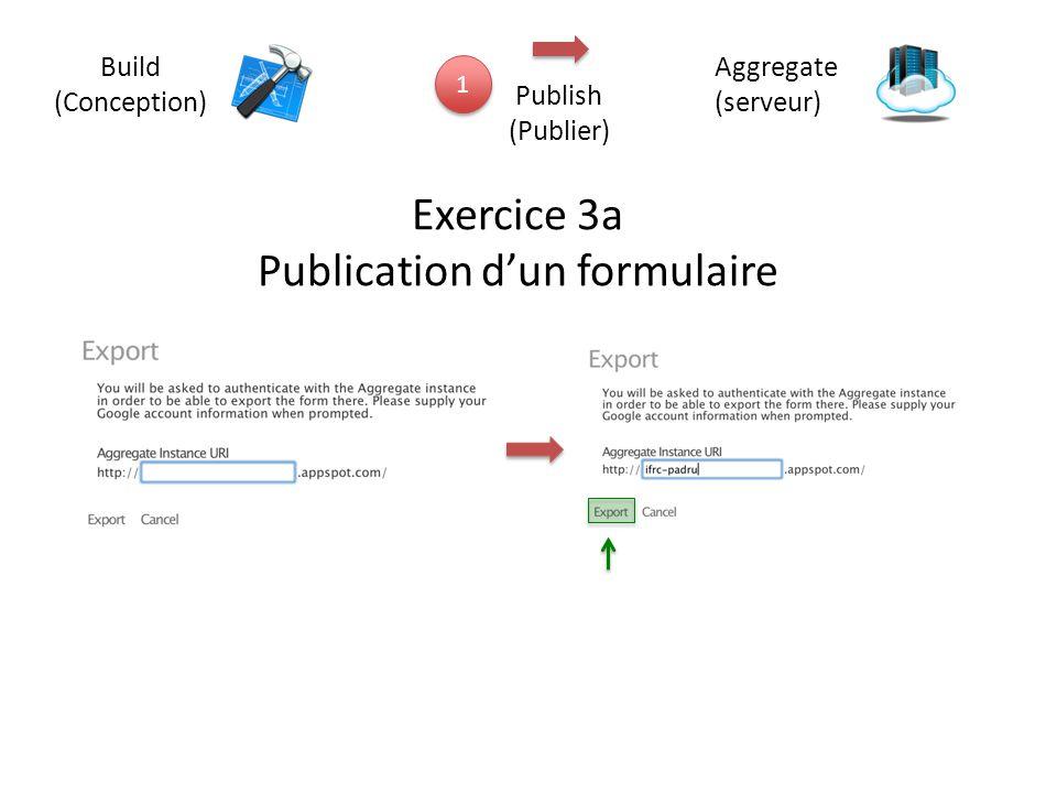 Build (Conception) 1 1 Aggregate (serveur) Publish (Publier) Exercice 3a Publication d'un formulaire
