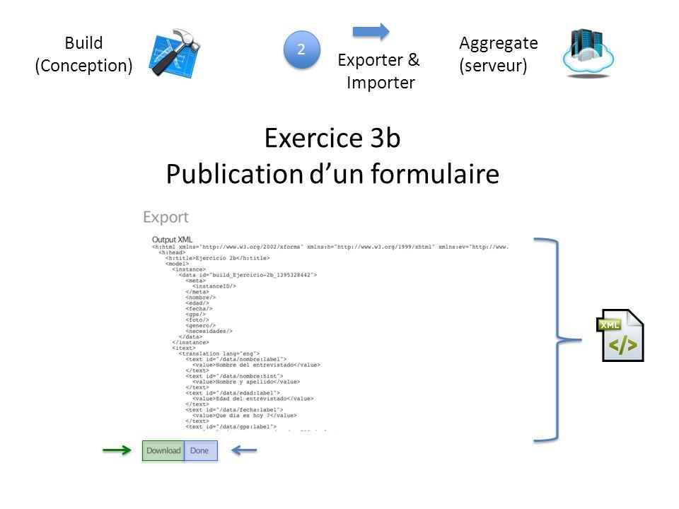 Build (Conception) Aggregate (serveur) Exercice 3b Publication d'un formulaire 2 2 Exporter & Importer