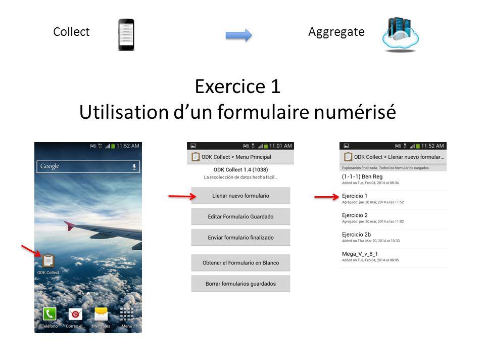 Exercice 1 Utilisation d'un formulaire numérisé AggregateCollect