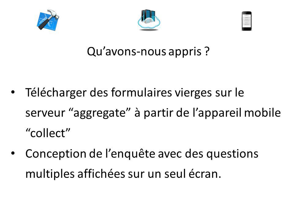 """Qu'avons-nous appris ? Télécharger des formulaires vierges sur le serveur """"aggregate"""" à partir de l'appareil mobile """"collect"""" Conception de l'enquête"""