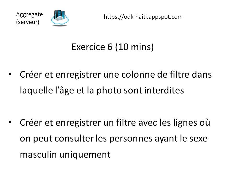 Exercice 6 (10 mins) Créer et enregistrer une colonne de filtre dans laquelle l'âge et la photo sont interdites Créer et enregistrer un filtre avec le