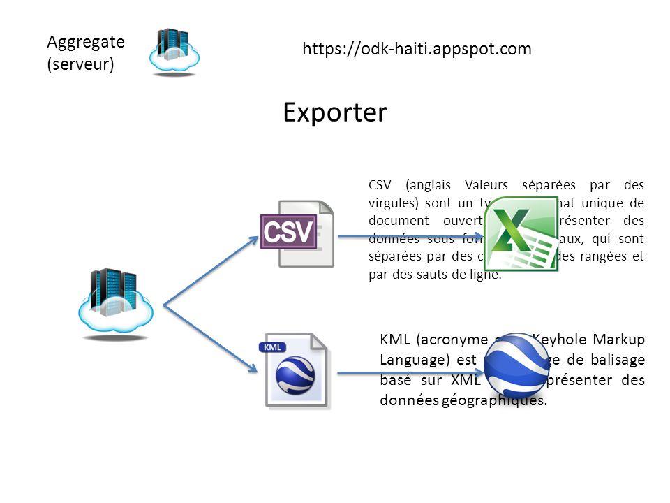 Aggregate (serveur) https://odk-haiti.appspot.com Exporter CSV (anglais Valeurs séparées par des virgules) sont un type de format unique de document o