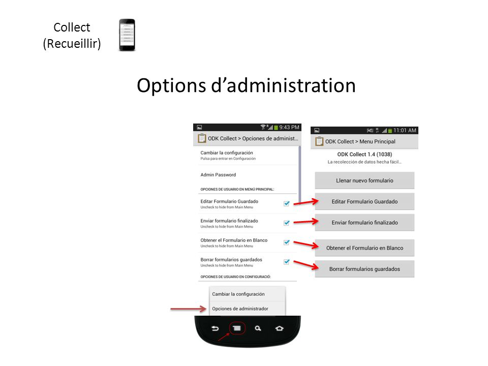 Collect (Recueillir) Options d'administration