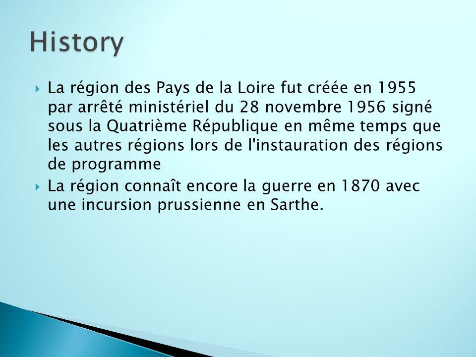  La région des Pays de la Loire fut créée en 1955 par arrêté ministériel du 28 novembre 1956 signé sous la Quatrième République en même temps que les autres régions lors de l instauration des régions de programme  La région connaît encore la guerre en 1870 avec une incursion prussienne en Sarthe.