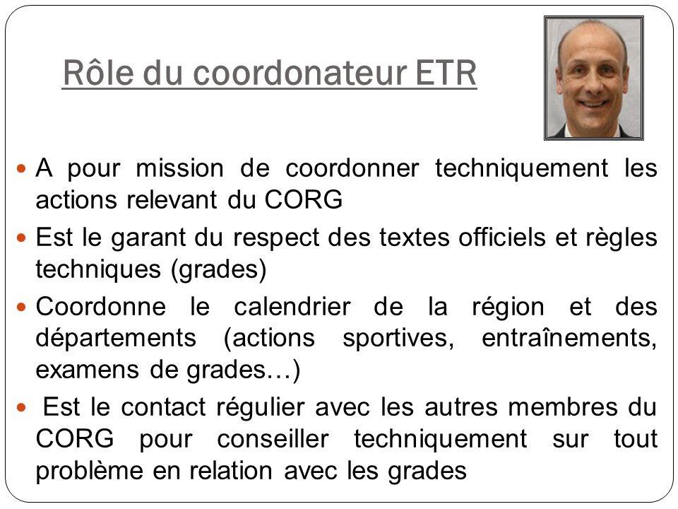 Rôle du coordonateur ETR A pour mission de coordonner techniquement les actions relevant du CORG Est le garant du respect des textes officiels et règl