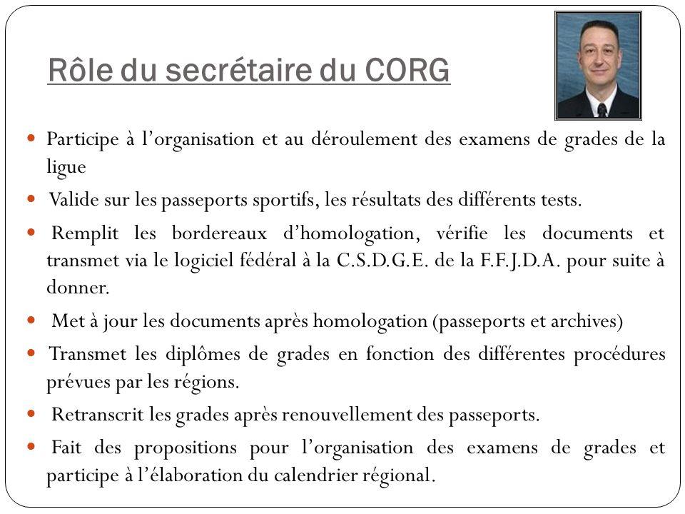 Rôle du secrétaire du CORG Participe à l'organisation et au déroulement des examens de grades de la ligue Valide sur les passeports sportifs, les résu
