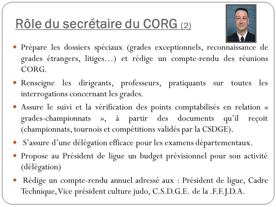 Rôle du secrétaire du CORG (2) Prépare les dossiers spéciaux (grades exceptionnels, reconnaissance de grades étrangers, litiges…) et rédige un compte-