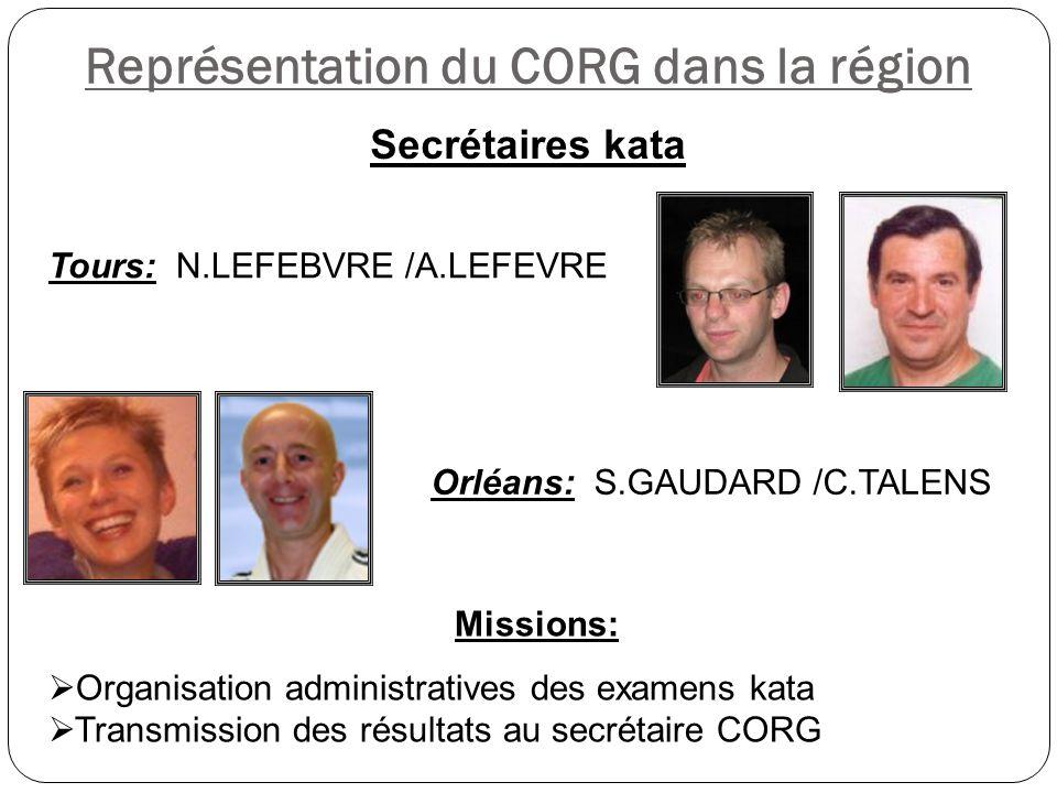 Représentation du CORG dans la région Missions:  Organisation administratives des examens kata  Transmission des résultats au secrétaire CORG Secrét