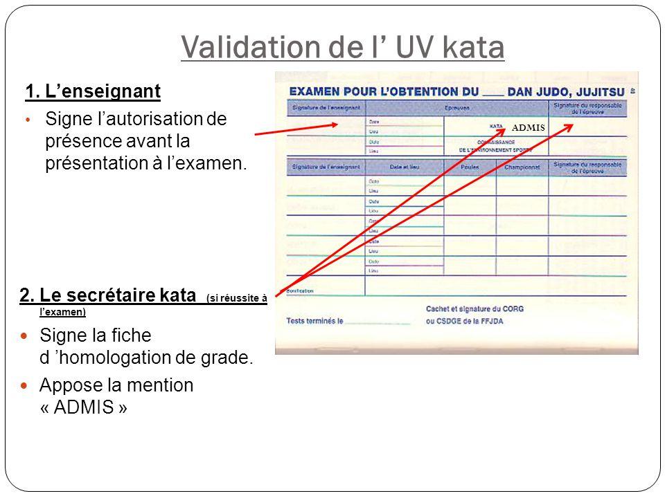 Validation de l' UV kata 2. Le secrétaire kata (si réussite à l'examen) Signe la fiche d 'homologation de grade. Appose la mention « ADMIS » ADMIS 1.