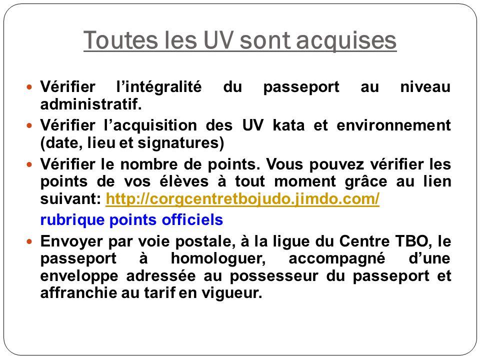 Toutes les UV sont acquises Vérifier l'intégralité du passeport au niveau administratif. Vérifier l'acquisition des UV kata et environnement (date, li