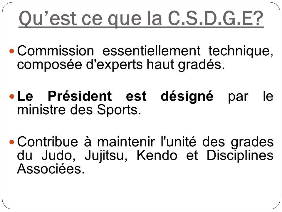 Qu'est ce que la C.S.D.G.E? Commission essentiellement technique, composée d'experts haut gradés. Le Président est désigné par le ministre des Sports.
